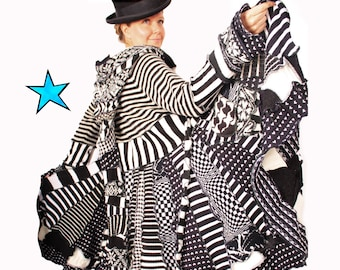 Katwise Coat Tutorial -Black and white stiped - ALice in Wonderland style