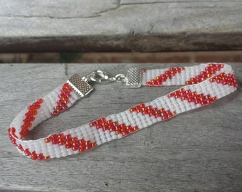 Christmas Bracelet, Seed Bead Woven Bracelet, Candy Cane Pattern, Holiday Jewelry, Gifts for Her