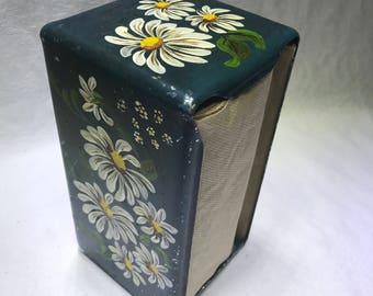 Handpainted Napkin Dispenser Vintage Tole Art Daisies