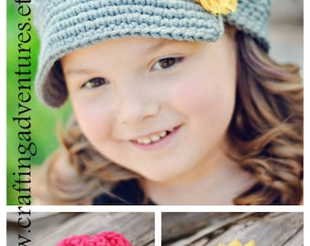 Gray Newsgirl Newsboy crocheted hat all sizes available with two flower hair clips, Shabby or crocheted
