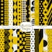 Black and Yellow Sports Team Color Digital Paper Pack