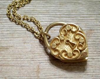 Vintage Heart Locket, Gold Plated Ornate Heart Lock Perfume Locket Pendant Necklace, Sarah Coventry, Love Locket