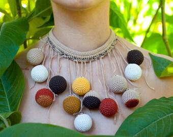 Crochet Bead Necklace, Statement Necklace, Bohemian Jewelry, Multicolor Textile Necklace, Contemporary Jewelry, Nursing Necklace.