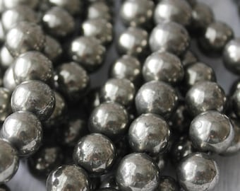 10mm Silver Pyrite Beads Full Strand Rustic Beads Fools Gold