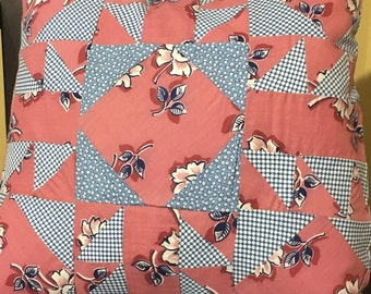 Pink and Blue Floral Polk-a-Dot Pieced Pillow Cover Vintage Retro Fabric