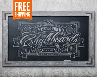 Premium Rustic Framed Chalkboard - Weathered Grey