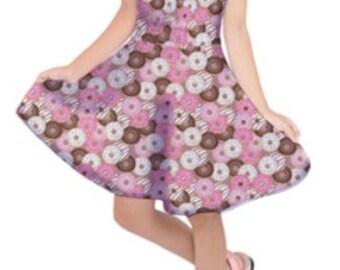 Donut Dress Kids Size Donuts Girls Dress Pink Sprinkled Children *****MTO, Month****