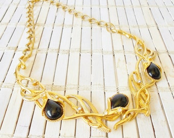 Jose Barrera for Avon Bib Necklace, Grenada, Jose & Maria Barrera, High End, Signed, Black and Gold, Art Nouveau style, Statement Necklace