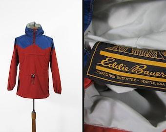 Vintage Eddie Bauer Windbreaker Jacket Hooded Pullover Coat - Medium