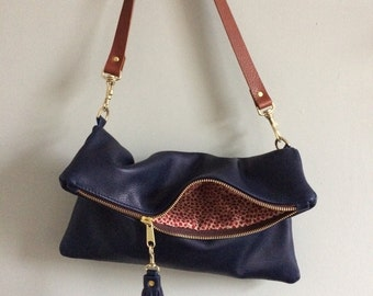 Navy leather foldover clutch, leather purse, blue evening handbag