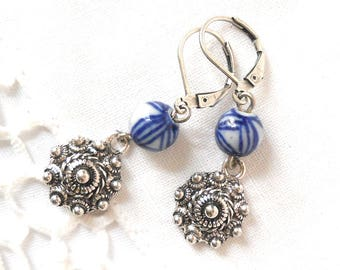 delft blue earrings delft blue style dutch earrings delft blue jewelry blue and white delft porcelain earrings