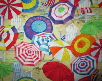 Umbrella Beach Chairs Sand Bright Colors Cotton Fabric Fat Quarter Or Custom Listing