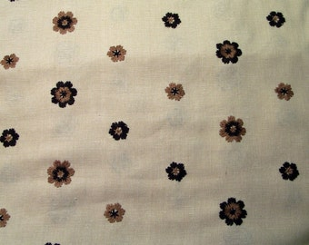 Linen Fabric Off White, Brown Embroidered Flowers 36 Inches Wide Selling it as one piece, Mod fabric from the 1970s, Flower power