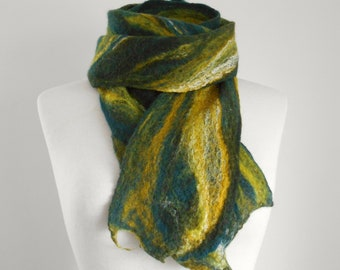 Felt scarf Felted scarf Felted wool scarf 'Forest' Long slim scarf Gifts for her Olive Green Mustard Teal scarf Cobweb Scarf Winter gift