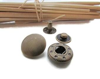 5 snap button 15 mm metal bronze jeans jacket-53.3 bag