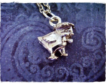 Silver Baby Chick Necklace - Silver Pewter Baby Chick Charm on a Delicate Silver Plated Cable Chain or Charm Only
