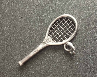 Vintage Tennis Racket Charm, Sterling Silver Sports Charm for Charm Bracelets, Gift for Tennis Player, Vintage Charm, Tennis Racquet