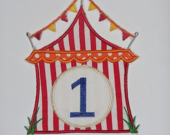 "Embroidered Iron On Applique ""Circus Tent"""