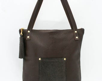 Brown Leather Bag, Magazine Tote, Brown Leather Purse Zippered Top Tote, Purse with Pockets