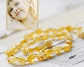 Raw Amber necklace Teether necklace Kids jewelry