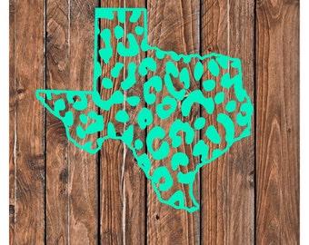 Texas Decal, Cheetah Print Texas Decal, Personalized Texas Decal, Wild About Texas Decal, Texas Vinyl Decal