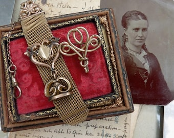 Antique Victorian Ladies Mesh Watch Chain Fob & Watch Pin, offered by RusticGypsyCreations
