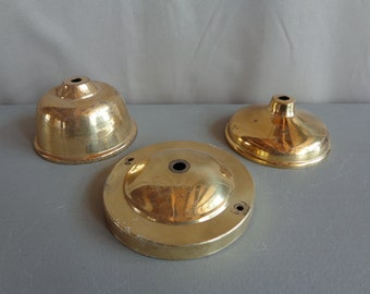 Vintage Lot of 3 Shiny Brass Lamp Light Fixture Canopy Cap Cover Part Replacement Restoration Repurpose