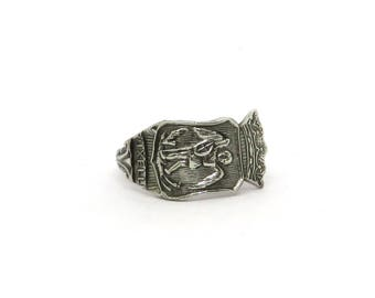 Saint Michael the Archangel ring, Brussels ring , Belgium  ring,  spoon ring