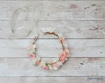 Flower Girl Crown, Silk Flower Crown, Wedding Hair Accessory, Wedding Crown, Boho, Beach Wedding, Flower Girl, Flower Crown, Peach, Pink
