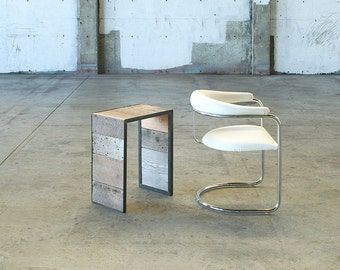 modern industrial table from reclaimed wood and high recycled content steel - side table, mini coffee table, end table, ottoman