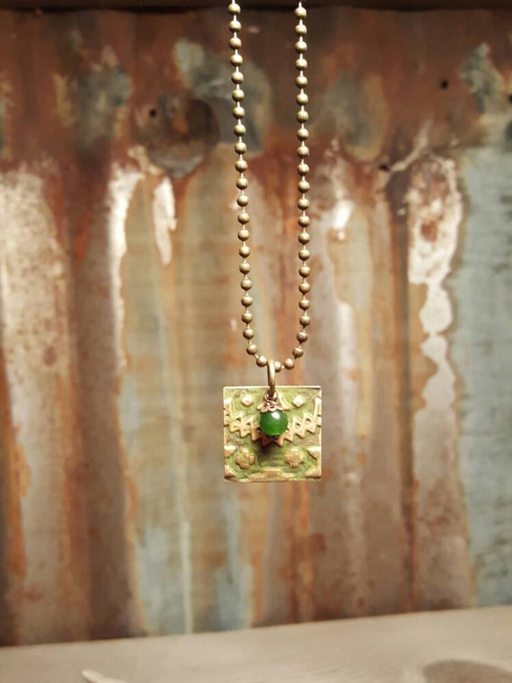 Embossed Hand Painted Brass Pendent with Vintage Jade Bead