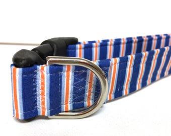 Naked Dog Collar- The Blue and Orange Stripes- Adjustable Collar