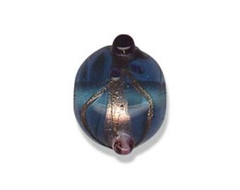 Bead handmade glass, round, blue, 15 mm, set of 2 Pcs