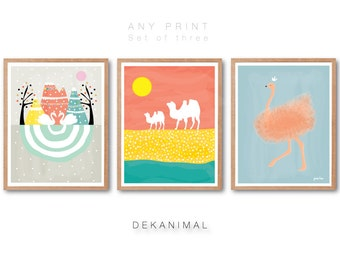 Ostrich Art Print, Swans Art Print, Camels Art Print, Pastel home wall art, Animal Art Print, Nursery Decor, Home decor, Scandinavian home