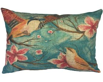 Watercolor Birds Throw Pillow, Linen Lumbar Pillow, Cottage