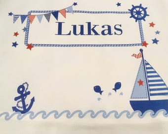 Personalized Turn-/Sportbeutel with name for children motif Sailboat boy/girl