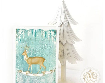 Deer Christmas card, happy holidays, flakes of snow, vintage style holiday card, blank inside
