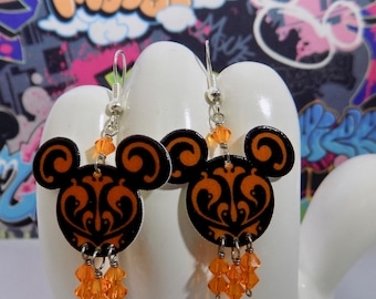 Mickey Mouse Black and Orange Swirled Dangle Earrings