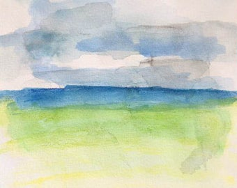 By the sea - original watercolor painting, contemporary painting on paper by Sarah Abati seascape