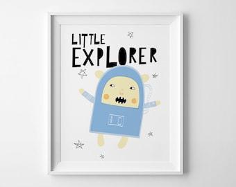 Kids decor, nursery wall art print, kids gift best selling item, little explorer, kids wall art, nursery art, mini learners, boys room decor