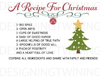 Recipe for Christmas SVG, PNG, PDF, dxf digital file