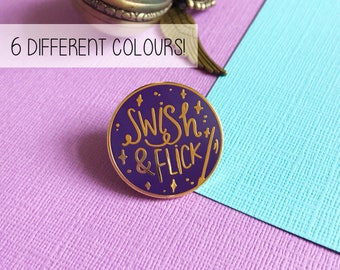 Swish & Flick enamel lapel pin | cute enamel pin hat badge wizard magic