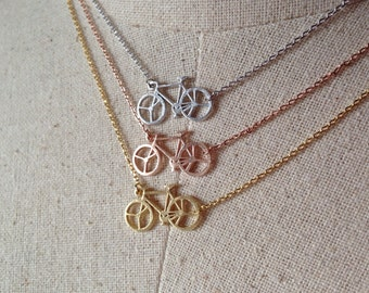 Bicycle Necklace, 14k Gold plated/Rose Gold/Silver, Dainty Necklace