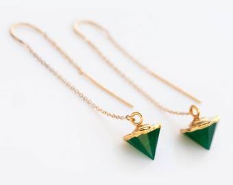 Green Onyx Earrings, Gemstone Spike Ear Threaders, Gold Threader Earrings, Minimalist Earrings, Long Dangle Earring, May Birthstone Gift