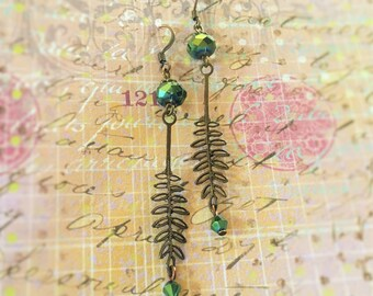 Antique Copper Leaf Earrings