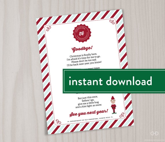 INSTANT DOWNLOAD Elf Goodbye Poem, Elf Goodbye Letter, Christmas Elf Farewell  Letter, Printable Note, Hug