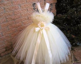 CREAMY IVORY - Tutu Dress - Flower Girl Gown - Pageant Girl Dress - Baptism Gown - Christening Dress- First Birthday - Ivory Tutu Dress -