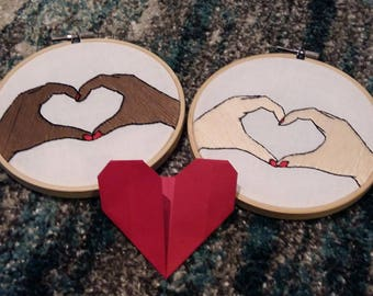 Valentine Heart Hands Embroidery Hoop Art Love Handmade Valentines Day