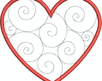 Heart with Swirls Appliqué design, Machine Embroidery, Embroidery pattern, Valentines