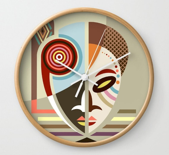 African Mask, African Decor Clock, African Wall Art Clock, African wall Hanging, African Design, African Gifts, African Inspired